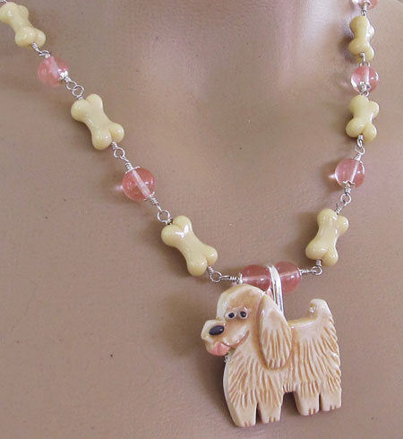 Blonde Puppy Dog Pin Necklace Dog Bone Jewelry