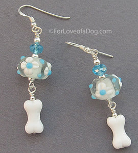 Turquoise Floral Lampwork Dog Bone Earrings Sterling Silver