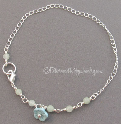 Aqua Blue Flower Ankle Bracelet