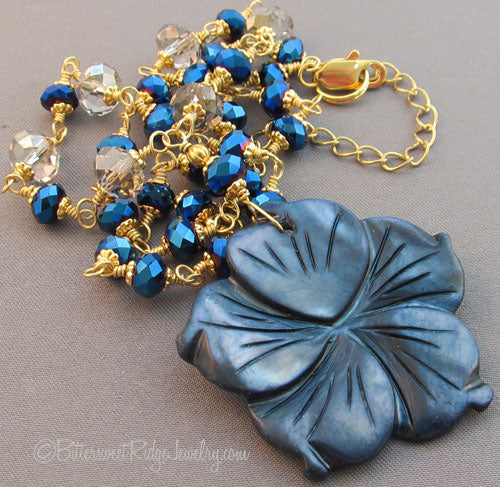 Midnight in the Garden Sapphire Blue Crystal Flower Necklace