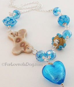 Woof Dog Bone Necklace Turquoise Blue Lampwork Crystals