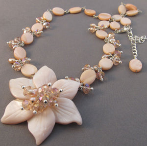 Love in Bloom Flower Necklace Pink Crystal Jewelry