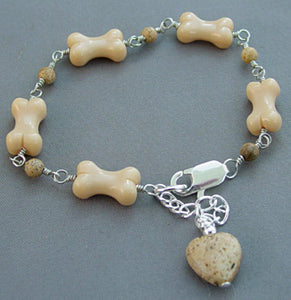 Dog Bone Bracelet Jasper Heart Jewelry