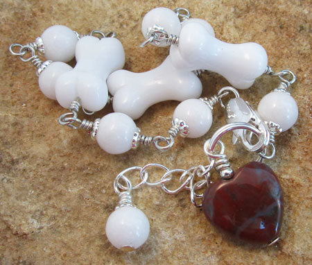 White Bone Red Heart Bracelet Dog Lover Jewelry