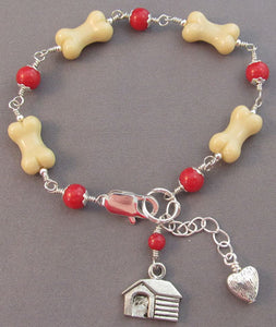 Dog Bone House Bracelet Hot Pink Gems Silver Jewelry