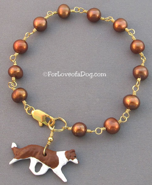 Red Border Collie Dog Bracelet Freshwater Pearls with Gold Handmade