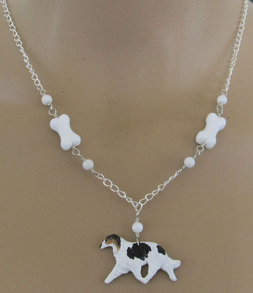 Borzoi Jewelry White Dog Bone Necklace