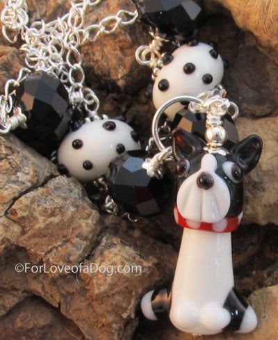 Boston Terrier Necklace Lampwork Pendant Crystals Silver