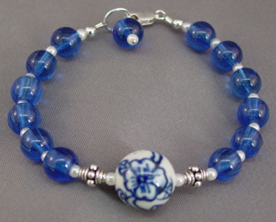 Chinese Porcelain Sterling Silver Bracelet Handcrafted Jewelry