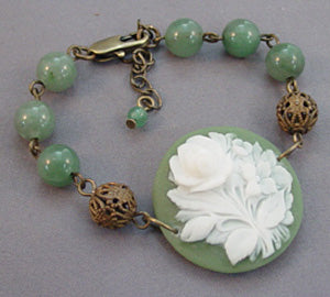 Green Floral Vintage Cameo Bracelet Victorian Jewelry
