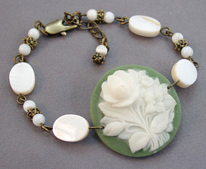 Vintage Cameo White Mother of Pearl Bracelet Victorian Jewelry