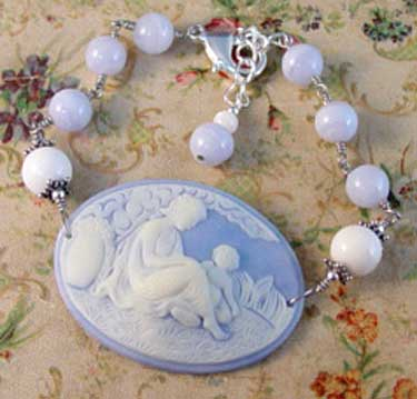 White Jade Blue Mother's Cameo Bracelet Handcrafted Jewelry