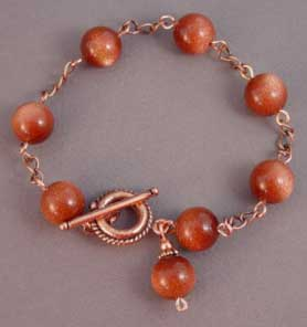 Goldstone Copper Bracelet Handcrafted Healing Jewelry
