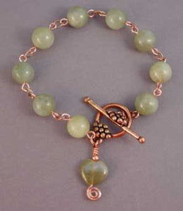 Green Jade Heart Bracelet Copper Jewelry