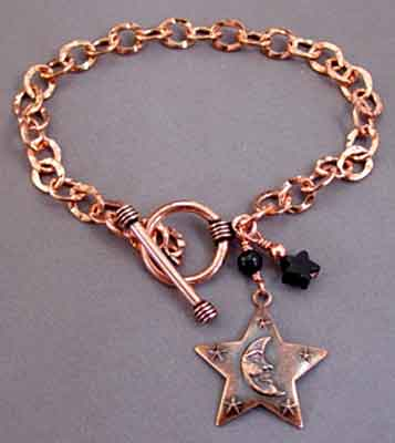 Moon and Stars Bracelet Hammered Copper Jewelry