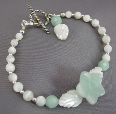 Lily Flower Bracelet Amazonite Mother of Pearl Jewelry
