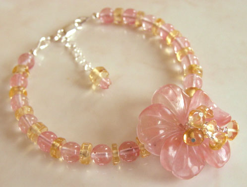Cherry Blossom Citrine Flower Bracelet Handcrafted Jewelry