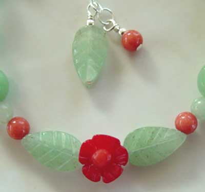 Red Coral Flower Garden Handcrafted Bracelet Romantic Jewelry