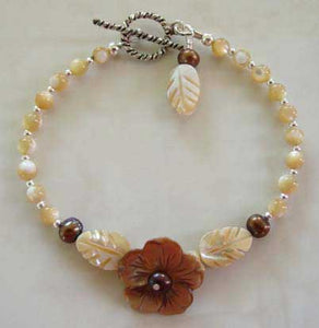 Chocolate Flower Bracelet Handcrafted Pearl Jewelry