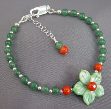 Love Fruit Flower Bracelet Coral and Green Aventurine Handcrafted Jewelry