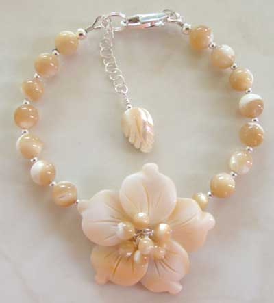 Pale Caramel Flower Blossom Bracelet Mother of Pearl Jewelry