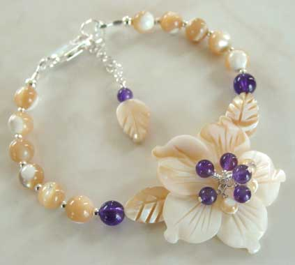 Purple Amethyst Garden Flower Bracelet Romantic Jewelry