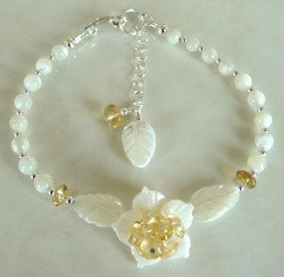 Mother of Pearl Flower Yellow Citrine Silver Handcrafted Bracelet