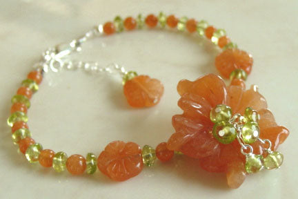 Orange Blossom Peridot Flower Bracelet Romantic Jewelry