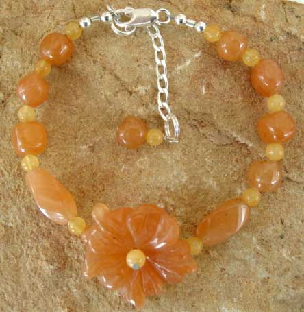 Georgia Peach Honey Jade Flower Bracelet Garden Jewelry