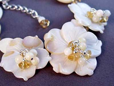 Wedding White Flowers Citrine Bracelet Romantic Jewelry