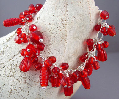 Red Cha Cha Bracelet Vintage Glass Sterling Silver Jewelry