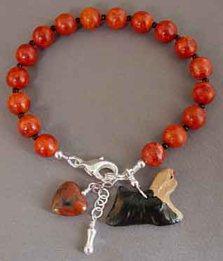 Red Coral Yorkie Dog Bracelet Handcrafted Pet Jewelry