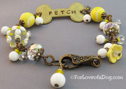 Fetch Dog Bone Bracelet White Lampwork Vintage Brass