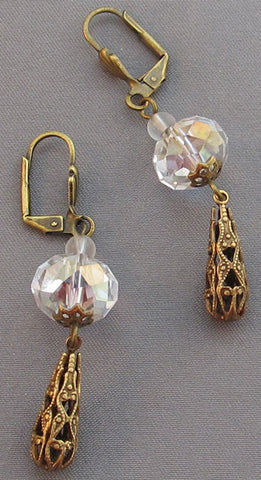 Victorian Style Teardrop Earrings Crystal Filigree