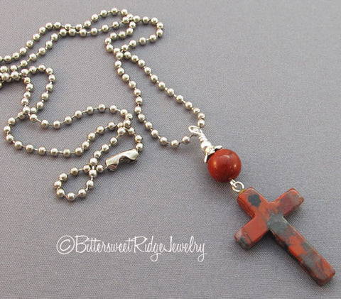 Unisex Cross Necklace Red Brecciated Jasper Pendant
