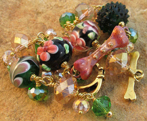 Rose Garden Dog Bone Bracelet Green Pink Gold