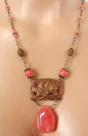 Art Nouveau Dramatic Repousse Lily Huge Brio Necklace