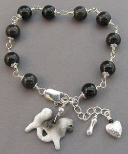Keeshond Dog Bracelet Silver Heart and Bone