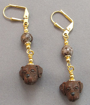 Chocolate Labrador Retriever Dog Earrings Gold Jewelry