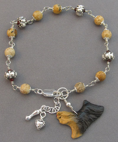 Yorkshire Terrier Bracelet Silver Bone and Heart Handmade Jewelry