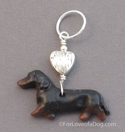 Dachshund Dog Pendant Silver Heart Black Tan