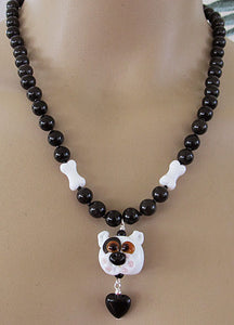 Lampwork Bully Breed Dog Necklace Whimsical Handmade Jewelry