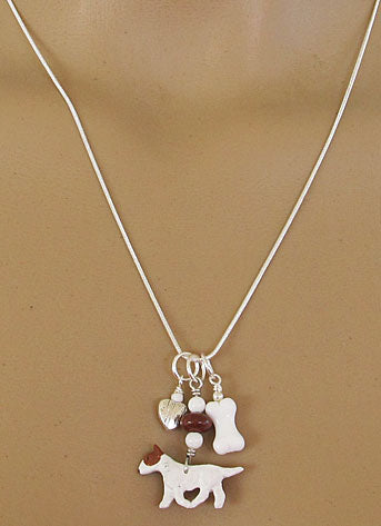 Bull Terrier Dog Charm Necklace Bone Heart Silver Jewelry