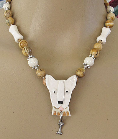Bull Terrier Dog Bone Necklace Artisan Jewelry