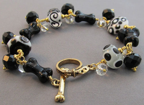 Dog Bone Bracelet Black White Lampwork Gold Jewelry