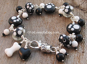 Paw Print Bracelet Black White Lampwork Dog Bone