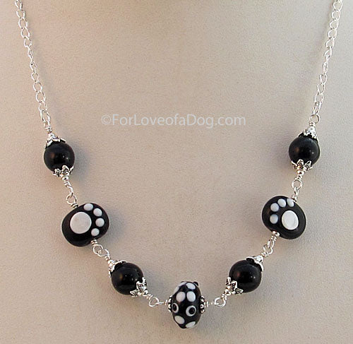 Paw Print Pet Lover Necklace Black White Silver