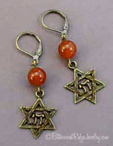 Carnelian Star of David Earrings Vintage Style Judaica