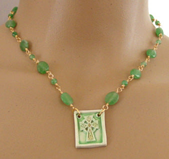 Celtic Cross Necklace Emerald Green Irish Jewelry