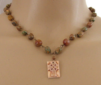 Celtic Cross Necklace Earthy Jasper Irish Jewelry